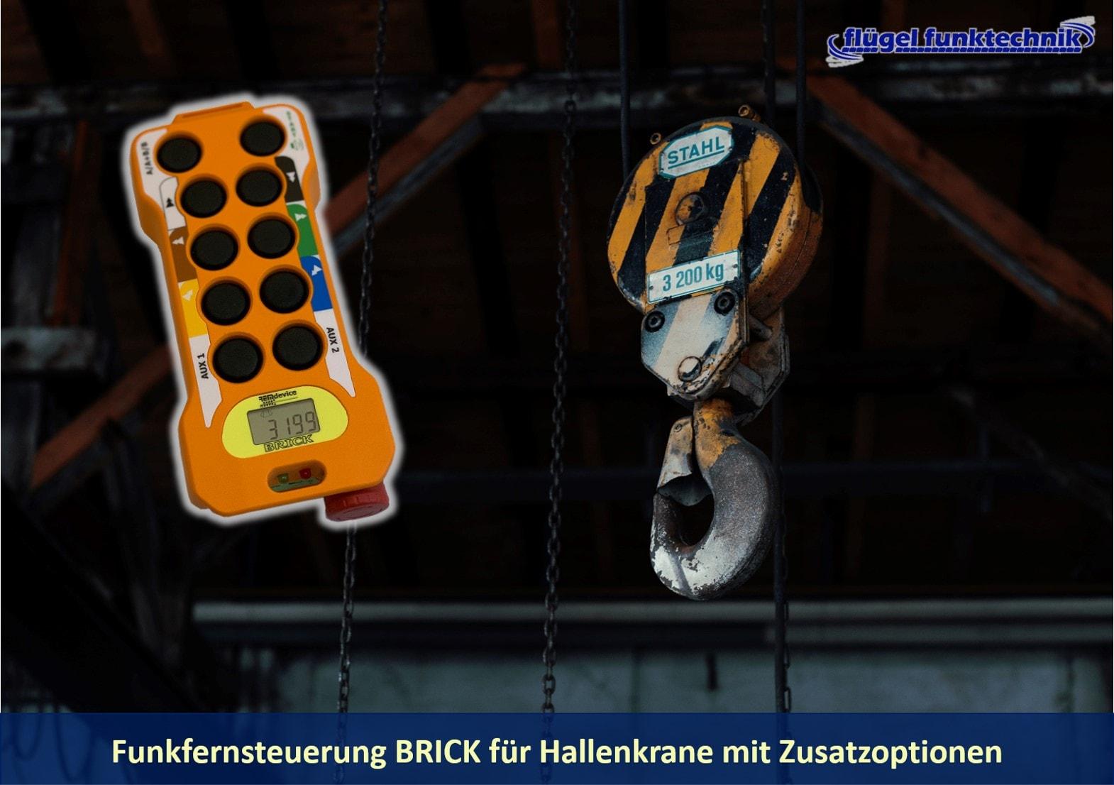 Funkfernsteuerung BRICK für Hallenkrane mit Rückmeldung auf dem Display