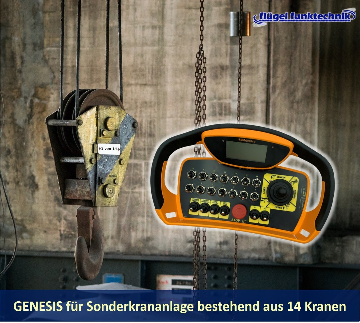 Funkfernsteuerung der Serie GENESIS für eine Krananlage mit 14 Kranen
