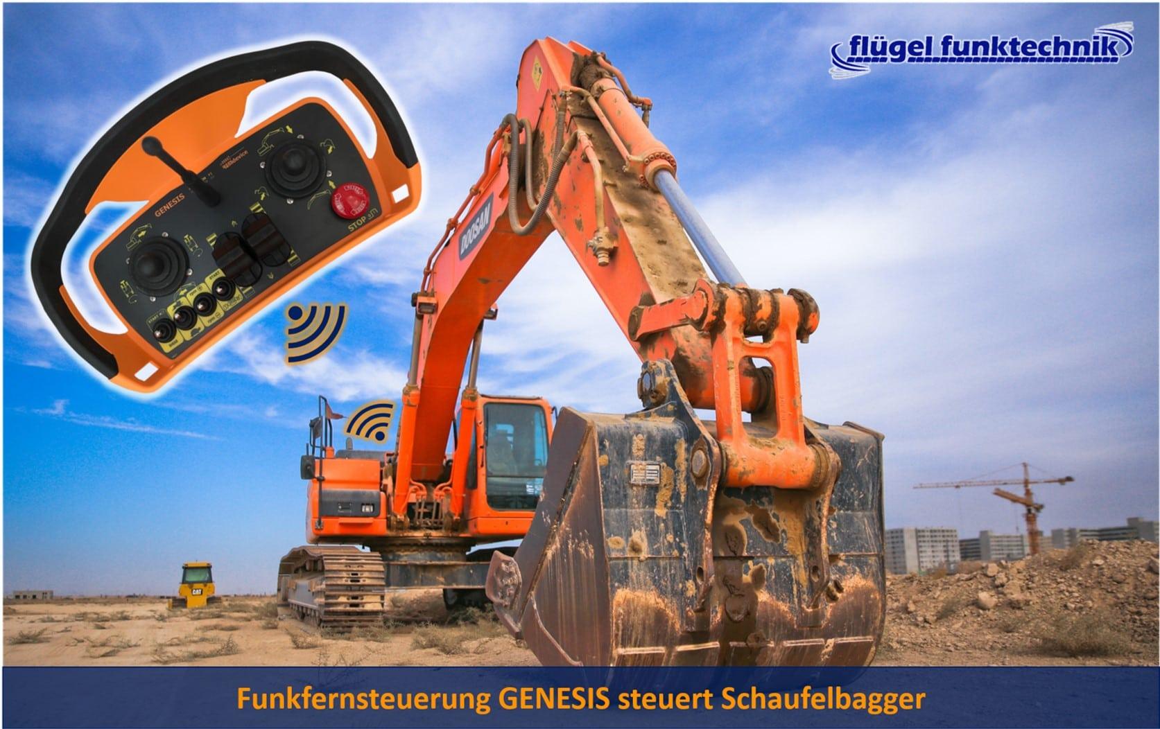 Funkfernsteuerung GENESIS an Schaufelbagger